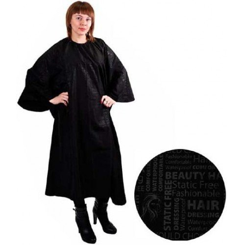 Пеньюар HairWay Comfort нейлоновый, водонепроницаемый, черный 143x152 см 37076