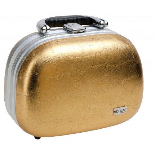 Чемодан для парикмахерских инструментов Dewal, искуственная кожа, золотистый 26 x15 x19 см HP806M