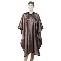 Пеньюар для стрижки Dewal Глянец, полиэстер, коричневый 128x146 см, на крючках AA04Brown