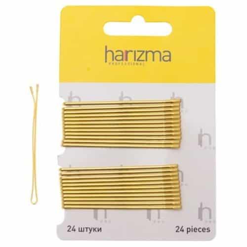 Невидимки Harizma 60 мм прямые 24 шт золото h10537-19