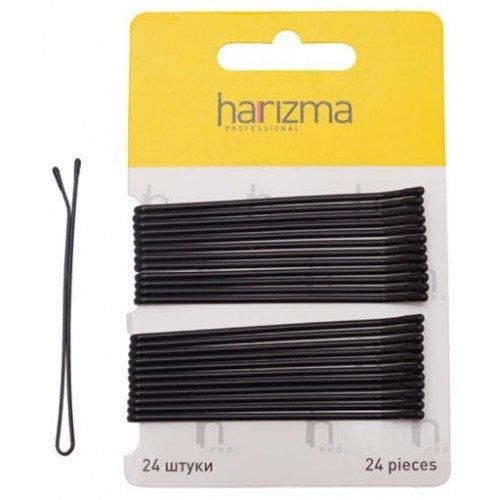 Невидимки Harizma 70 мм прямые 24 шт черные h10539-15
