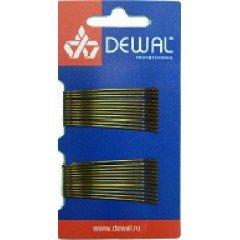 Невидимки Dewal коричневые, прямые 50 мм, 24 шт/уп, на блистере SLN50P-3/24