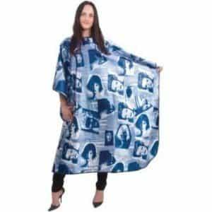 Пеньюар HairWay Summer in City нейлоновый, водонепроницаемый, синий 128x164 см 37653