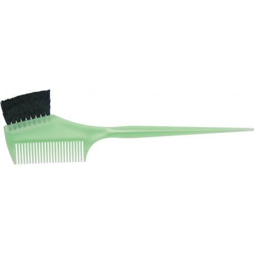 Кисть для окрашивания Dewal зеленая, с расческой, с черной волнистой щетиной, узкая 55 мм JPP049 green