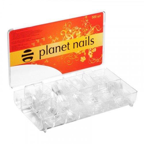 Типсы Planet Nails, прозрачные, 500 шт в упаковке, №1-10 17005