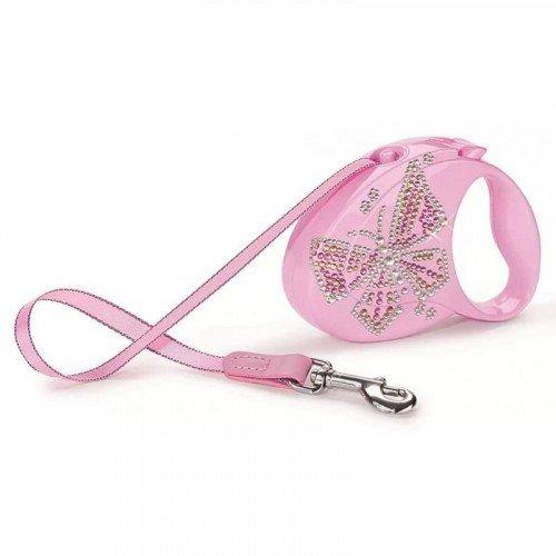 Поводок-рулетка для собак Flexi Glam Butterfly Small Розовая